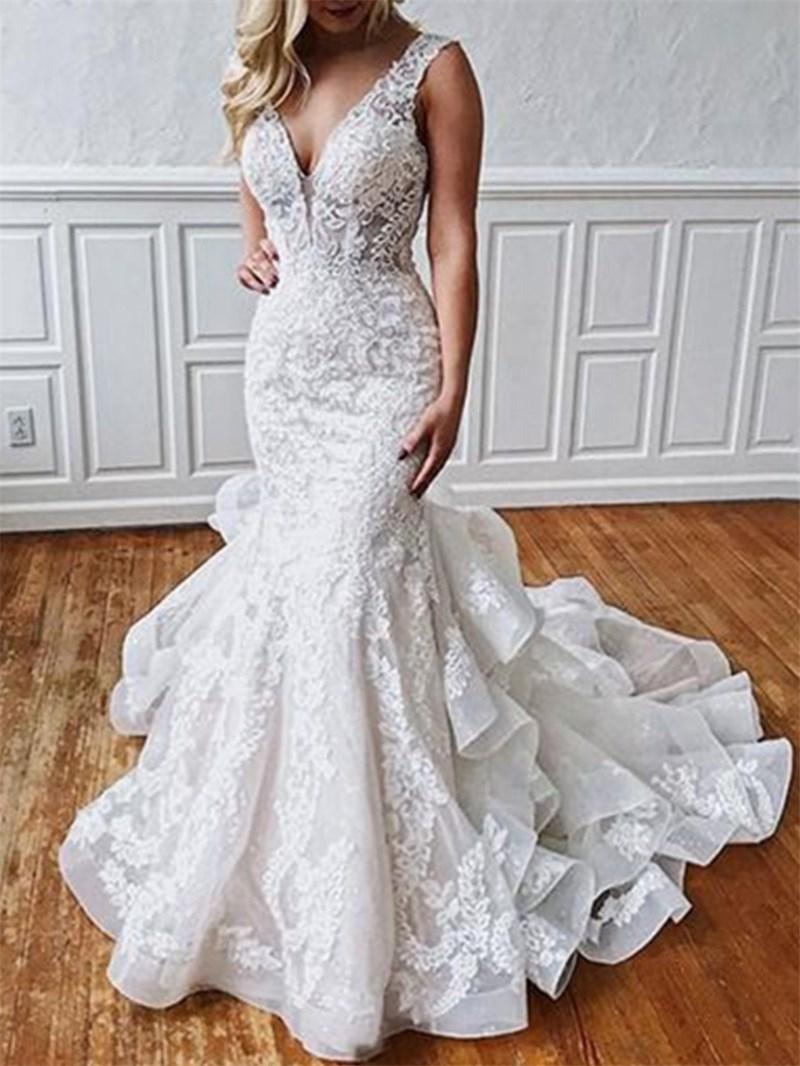 Ericdress Button Backless Appliques Mermaid Wedding Dress