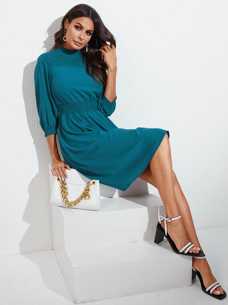 YOINS Blue Shirring Round Neck Long Sleeves Dress