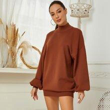 Mock Neck Drop Shoulder Oversized Sweater Dress