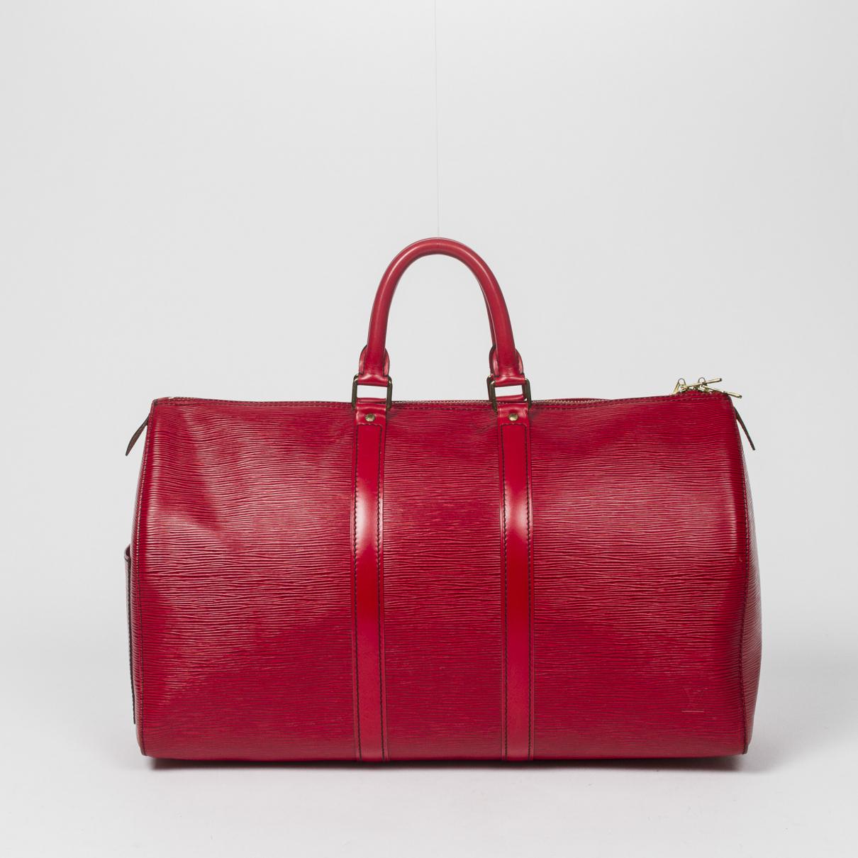 Louis Vuitton Keepall Reisetasche in  Rot Leder