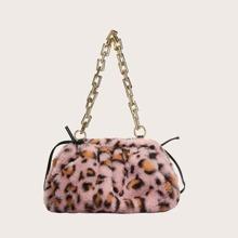 Leopard Print Fluffy Shoulder Bag