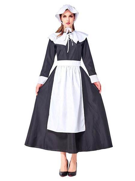 Milanoo Retro Medieval Scotland Dress Women Black And White Ruffles Vintage Garden Fashion Patchwork Prairie Chic Sukol Dress