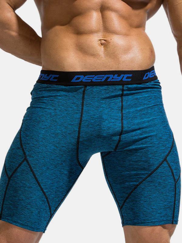 Mens Long Leg Sports Boxer Briefs Quick Dry Patchwork Jogging Shorts Purpose of Compression Shorts