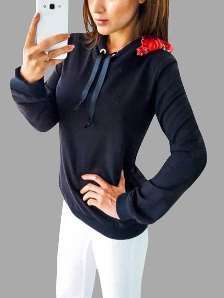 Yoins Black Hooded Design Embroidered Long Sleeves Hoodie