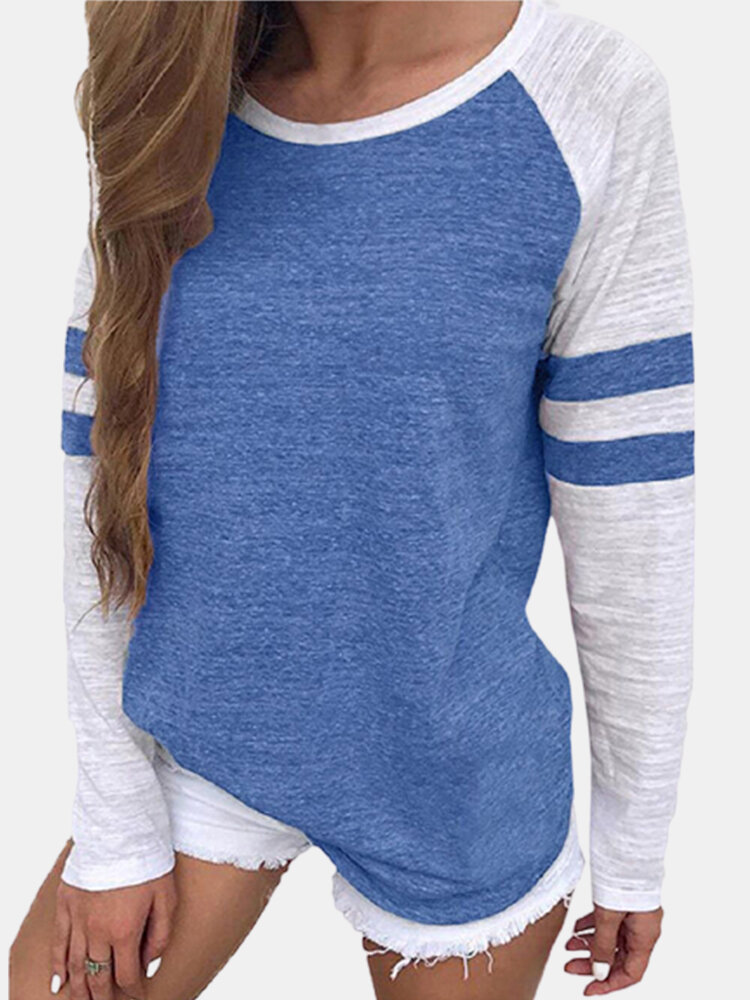 Striped Casual Patchwork O-neck Long Sleeve Plus Size T-shirt