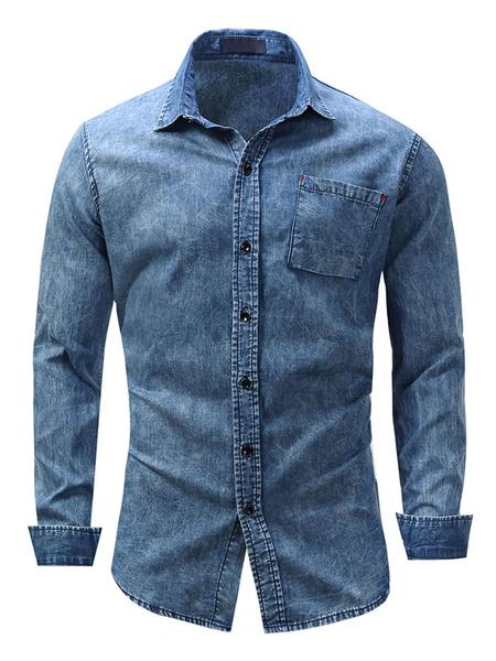 Milanoo Camisas Vaqueras Azules Camisas Casual Oversized de Manga Larga para Hombre