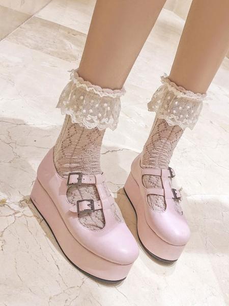 Milanoo Sweet Lolita Footwear Flatform Buckle PU Leather Lolita Pumps