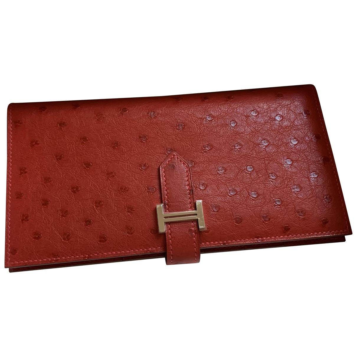 Hermes Bearn Portemonnaie in  Rot Vogelstrauss