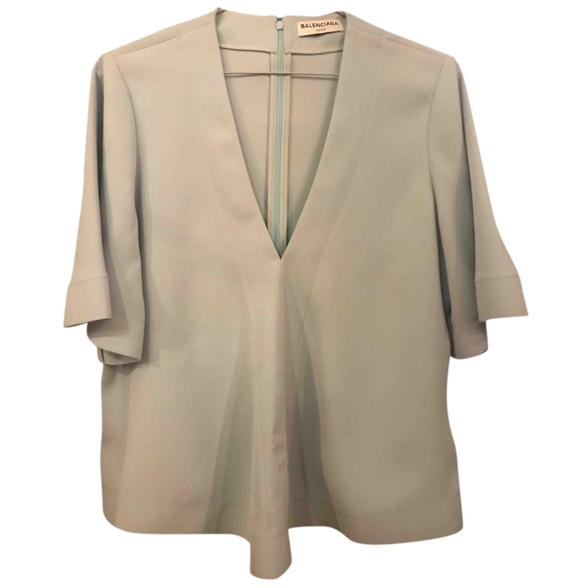 Balenciaga - Top   pour femme en soie - bleu