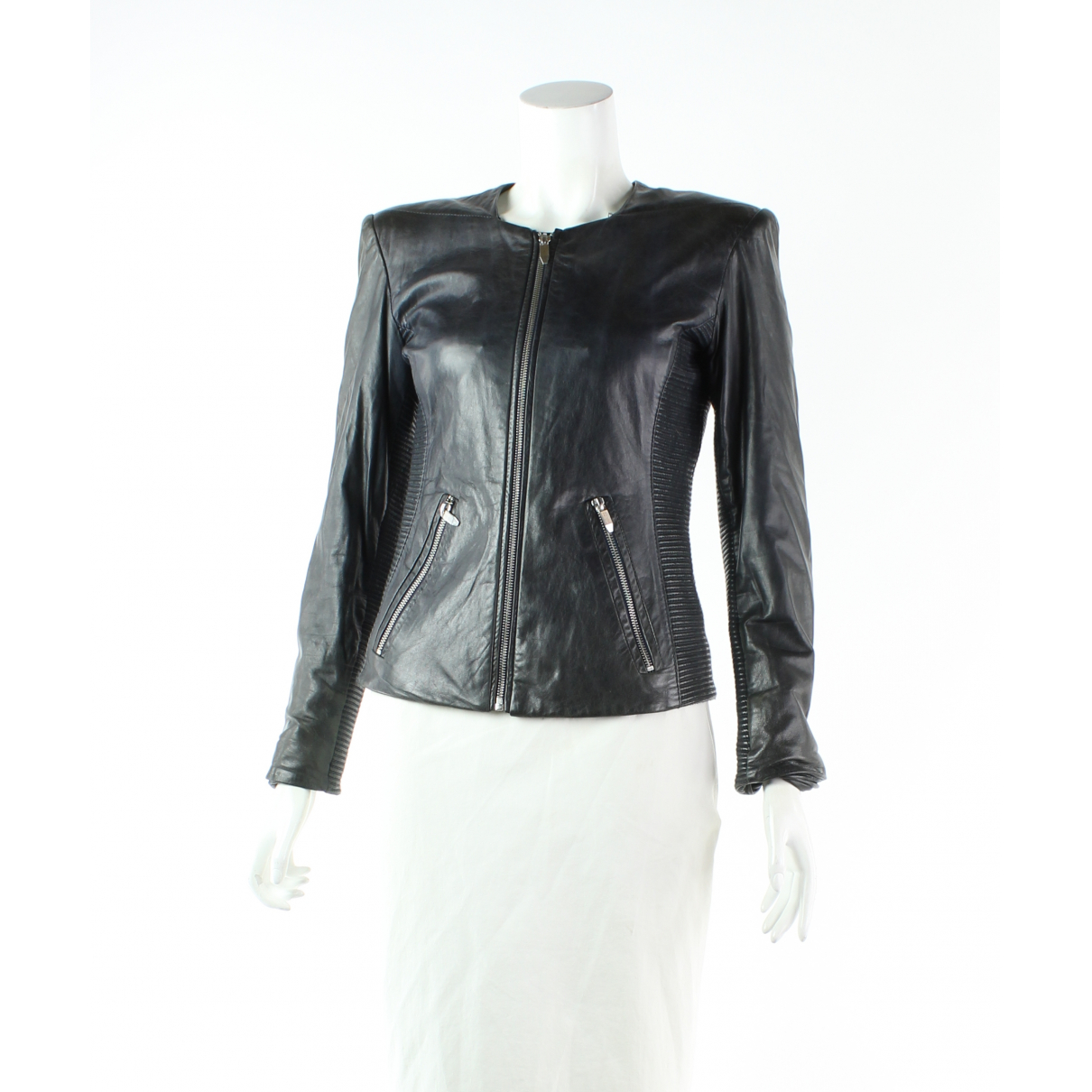 Theyskens Theory N Navy Leather jacket for Women 4 UK
