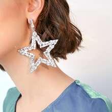 1pc Rhinestone Decor Star Drop Earrings