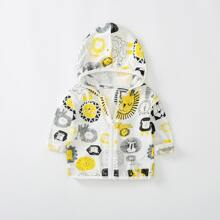 Toddler Boys Cartoon Graphic Zip Up Hooded Jacket