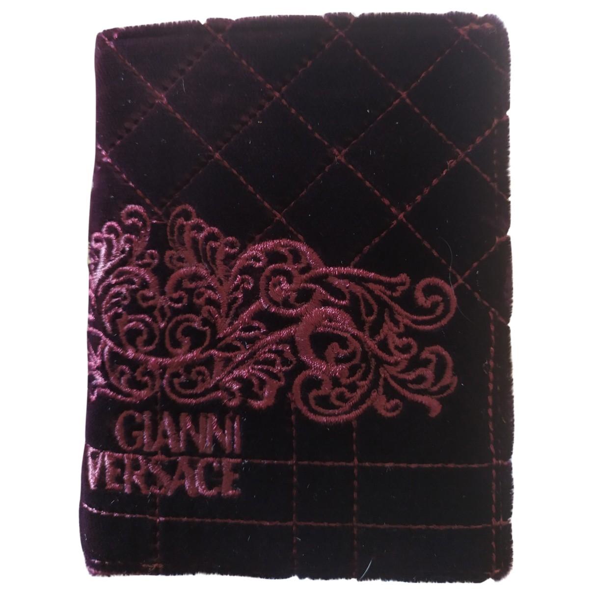 Gianni Versace - Petite maroquinerie   pour homme en velours - bordeaux