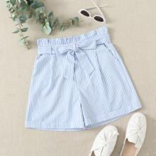 Shorts mit Streifen, Selbstband und Papiertasche Taille