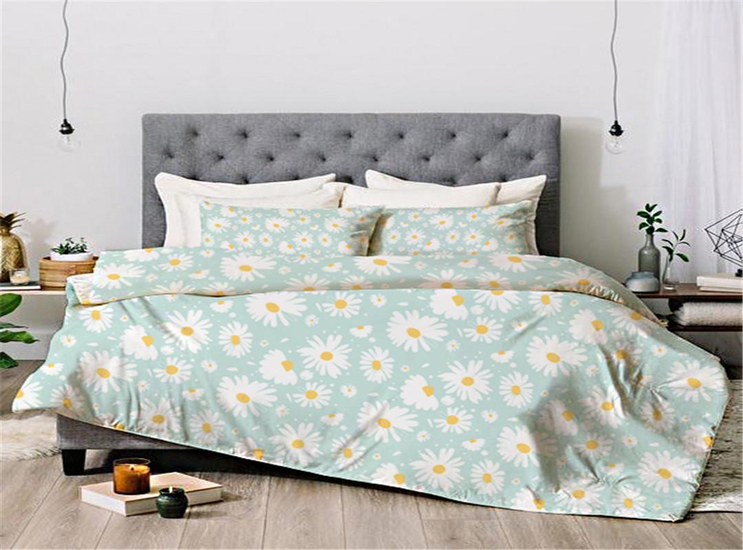 Daisy Light Blue Colorful Floral Reversible Bedding Sets All-Season Ultra-soft Microfiber No-fading Four-Piece Set Duvet Cover Set Reactive Printing M