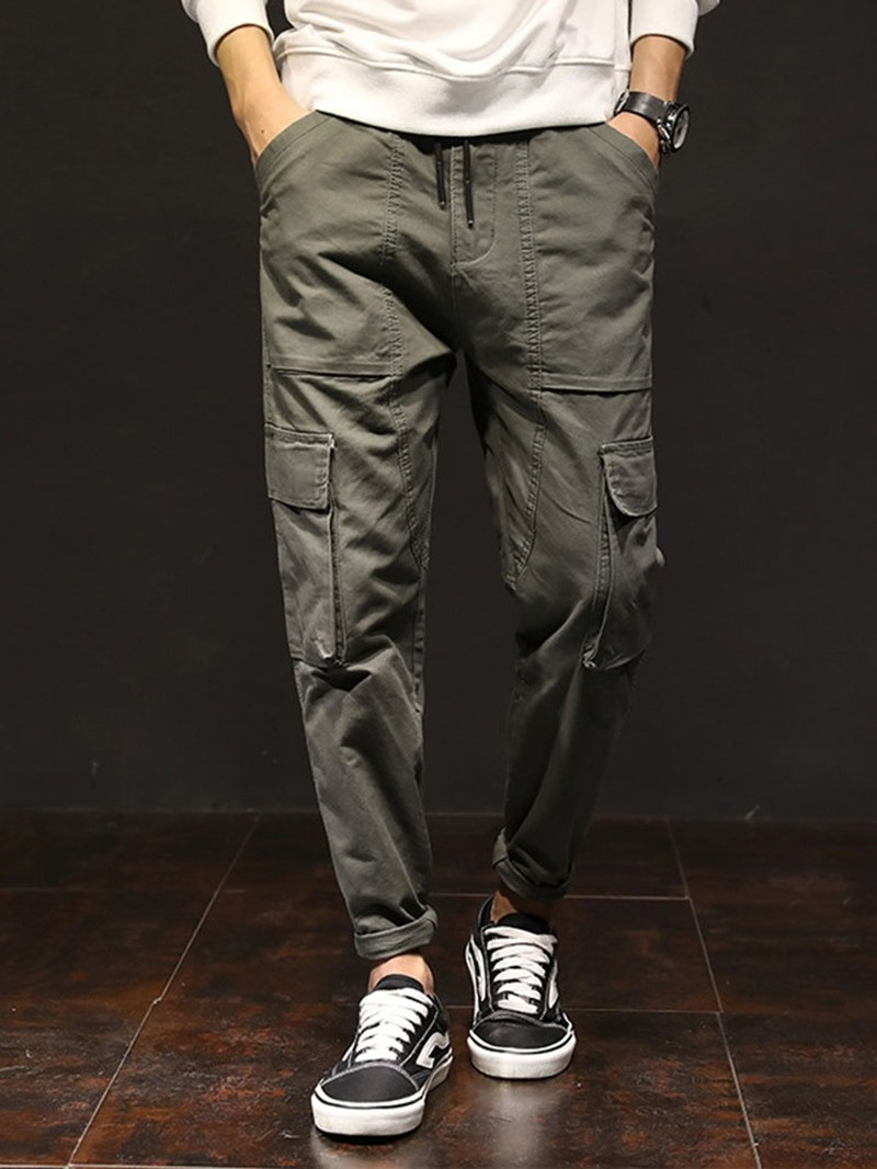 Ericdress Plain Pocket Mid Waist Lace-Up Men's Casual Pants