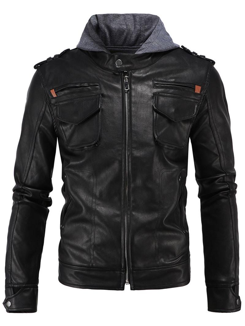 Ericdress Patchwork Hood Zipper PU Casual Men's Jacket
