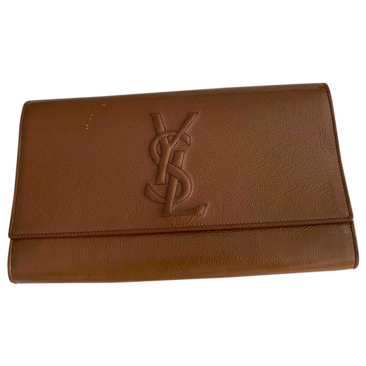 Yves Saint Laurent Belle de Jour Brown Patent leather Clutch bag for Women N