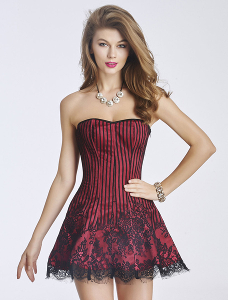 Milanoo Red Corset Dress Lace Pinstripe Strapless Sexy Lingerie For Women