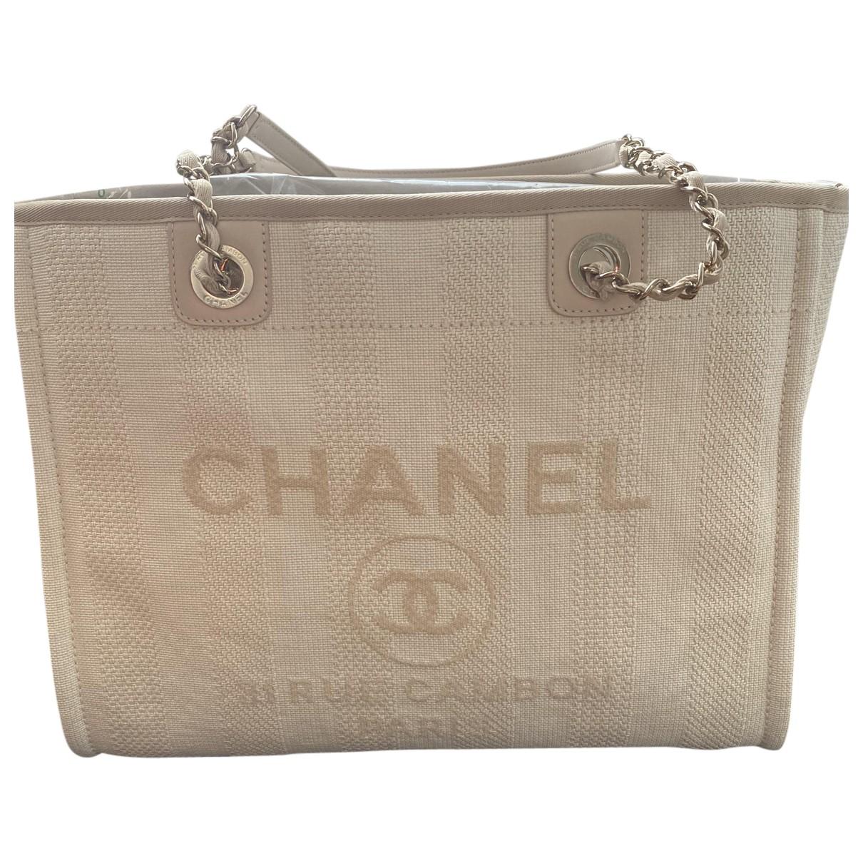 Chanel Deauville Ecru Cotton handbag for Women N