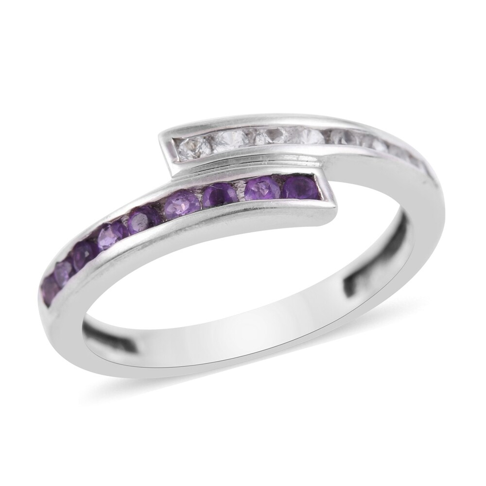 925 Sterling Silver Amethyst White Created Sapphire Statement Ring (Ring 7.5)
