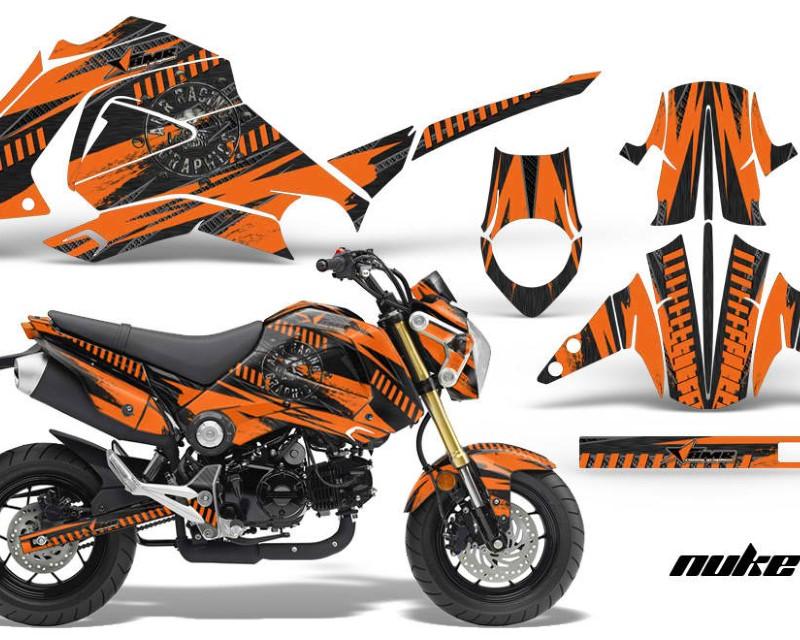 AMR Racing Motorcycle Graphics Kit Decal Sticker Wrap For Honda GROM 125 2013-2016áNUKE ORANGE BLACK