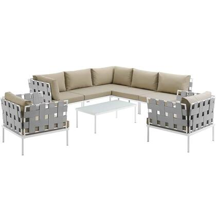 Harmony Collection EEI-2619-WHI-BEI-SET 8-Piece Outdoor Patio Aluminum Sectional Sofa Set with Coffee Table  3 Armless Chairs  2 Armchairs and 2
