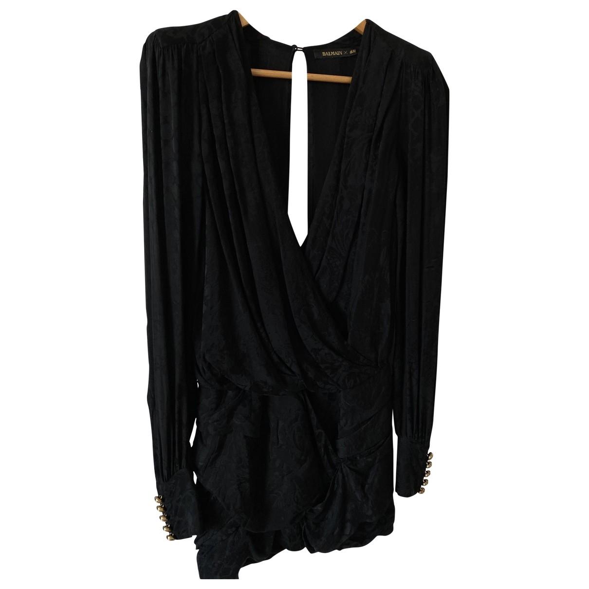 Balmain For H&m \N Black Silk dress for Women 36 FR