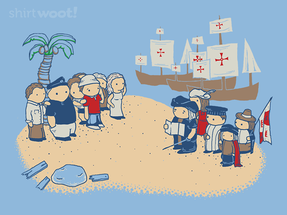 Columbus Discovers Seven Stranded Castaways T Shirt