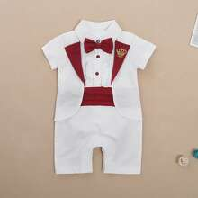 Baby Boy Crown Pattern Bow Front Ruffle Trim Jumpsuit