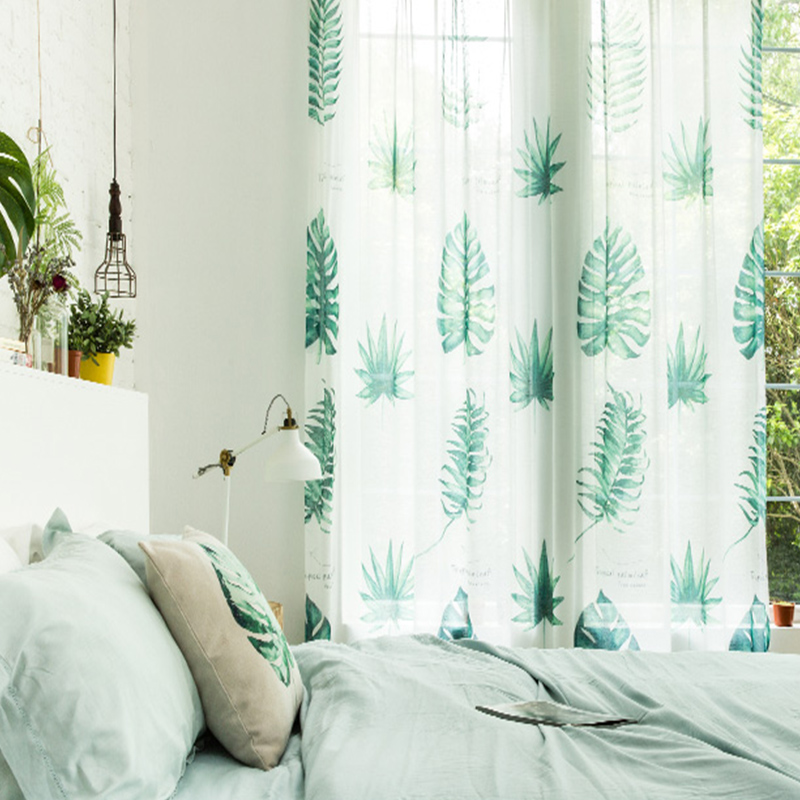 Decoration and Dust-Proof Polyester Printing Green Leaves Sheer Curtain and Window Drapes