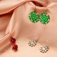 3pairs Christmas Snowflake Charm Drop Earrings