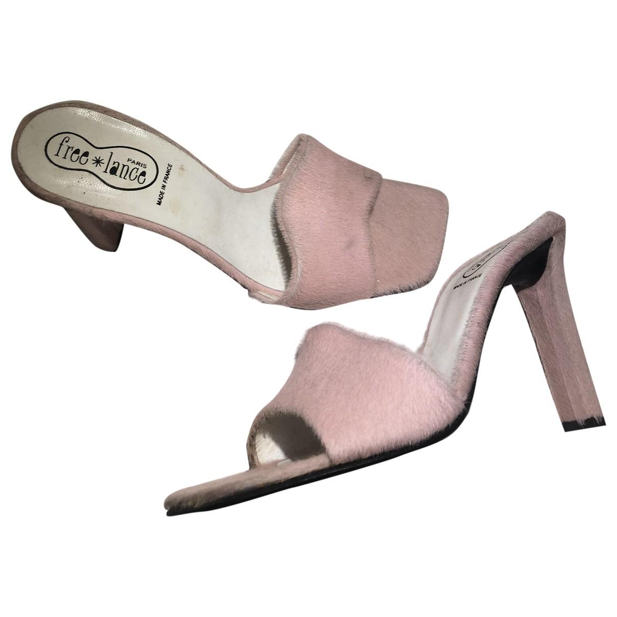Free Lance - Sandales   pour femme en veau facon poulain - rose