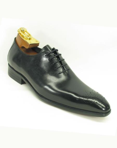 Men's Black Leather Perf Lace Up Style Fashionable Shoe