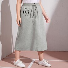 Plus Buttoned Front Drawstring Waist Letter Graphic Skirt