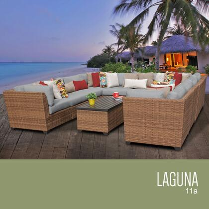 LAGUNA-11a-GREY Laguna 11 Piece Outdoor Wicker Patio Furniture Set 11a with 2 Covers: Wheat and