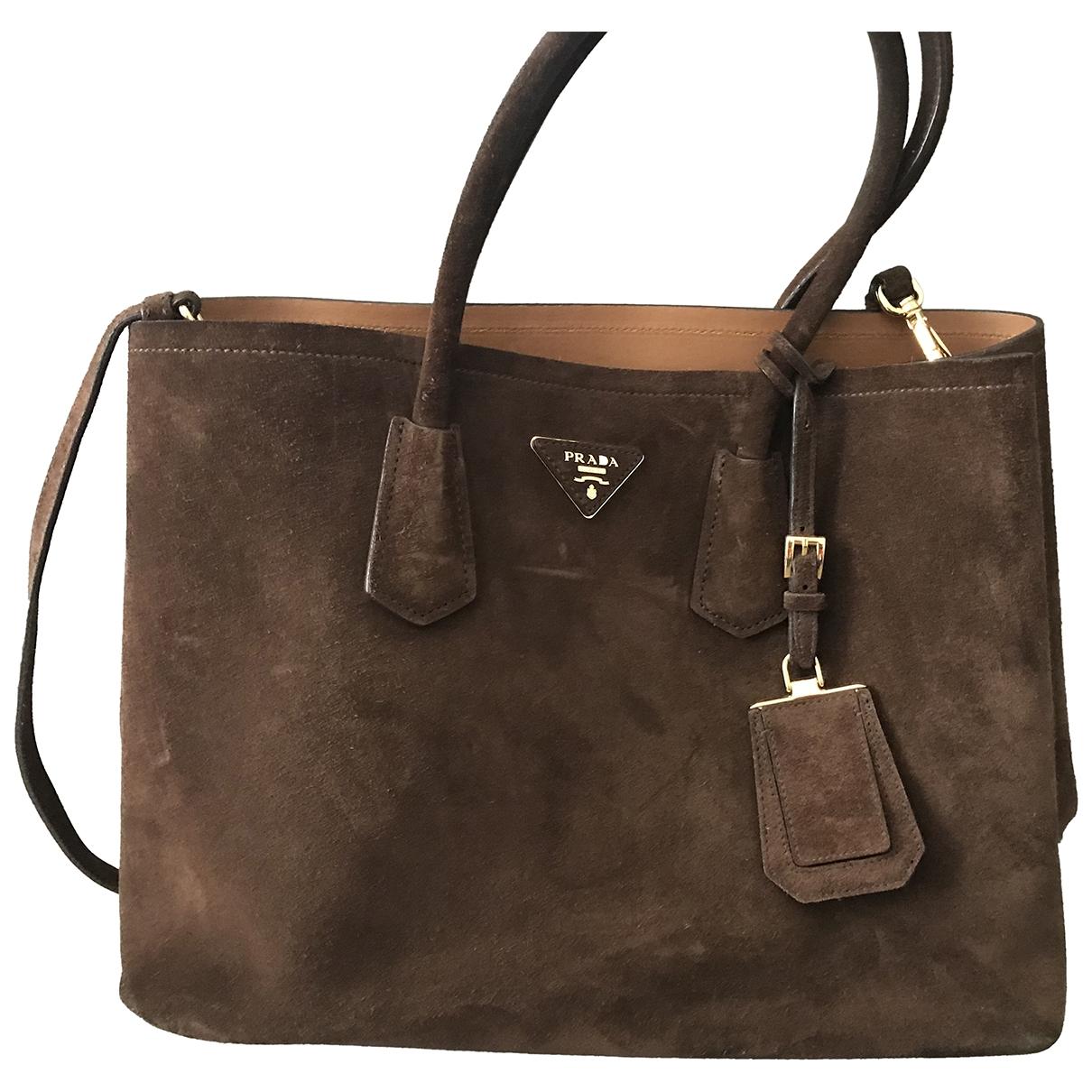 Prada Double Brown Suede handbag for Women \N