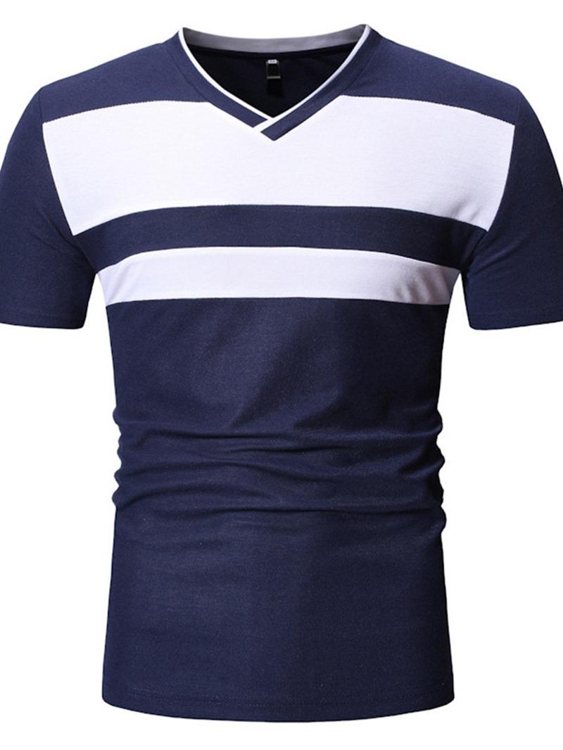 Ericdress V-Neck Color Block Casual Mens Short Sleeve Slim T-shirt