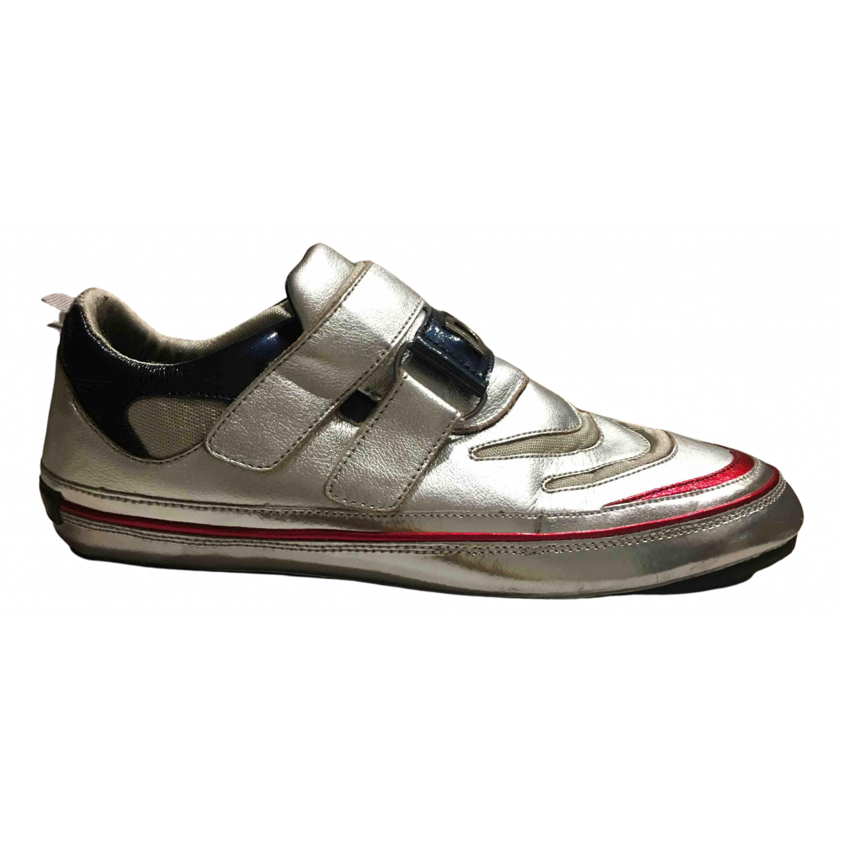 D&g N Silver Leather Trainers for Men 8.5 US