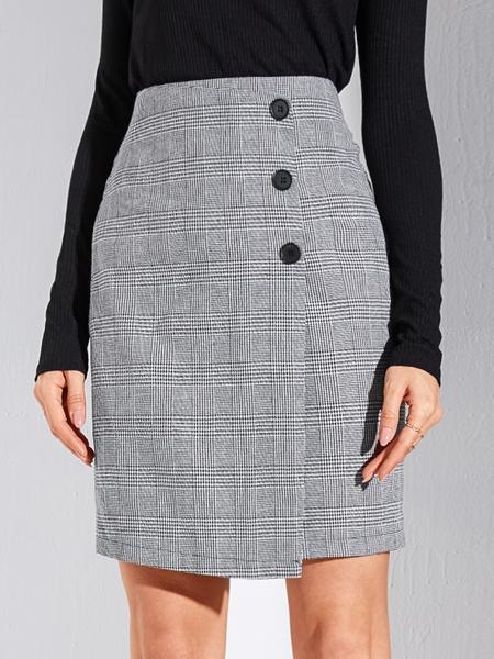 YOINS Grey Wrap Button Design Plaid High-Waisted Skirt