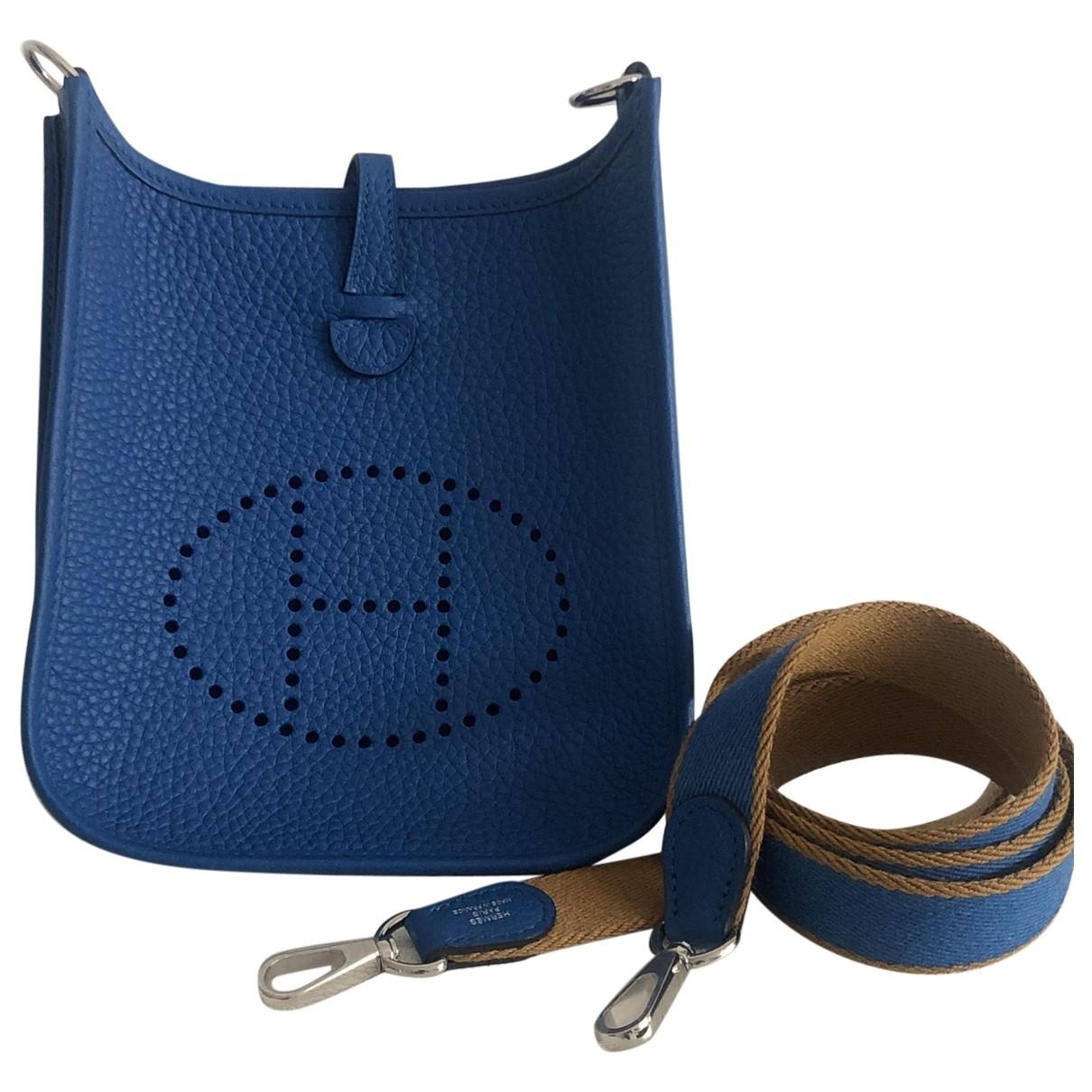 Hermes - Sac a main Evelyne pour femme en cuir - bleu