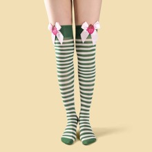 Christmas Striped Over The Knee Socks