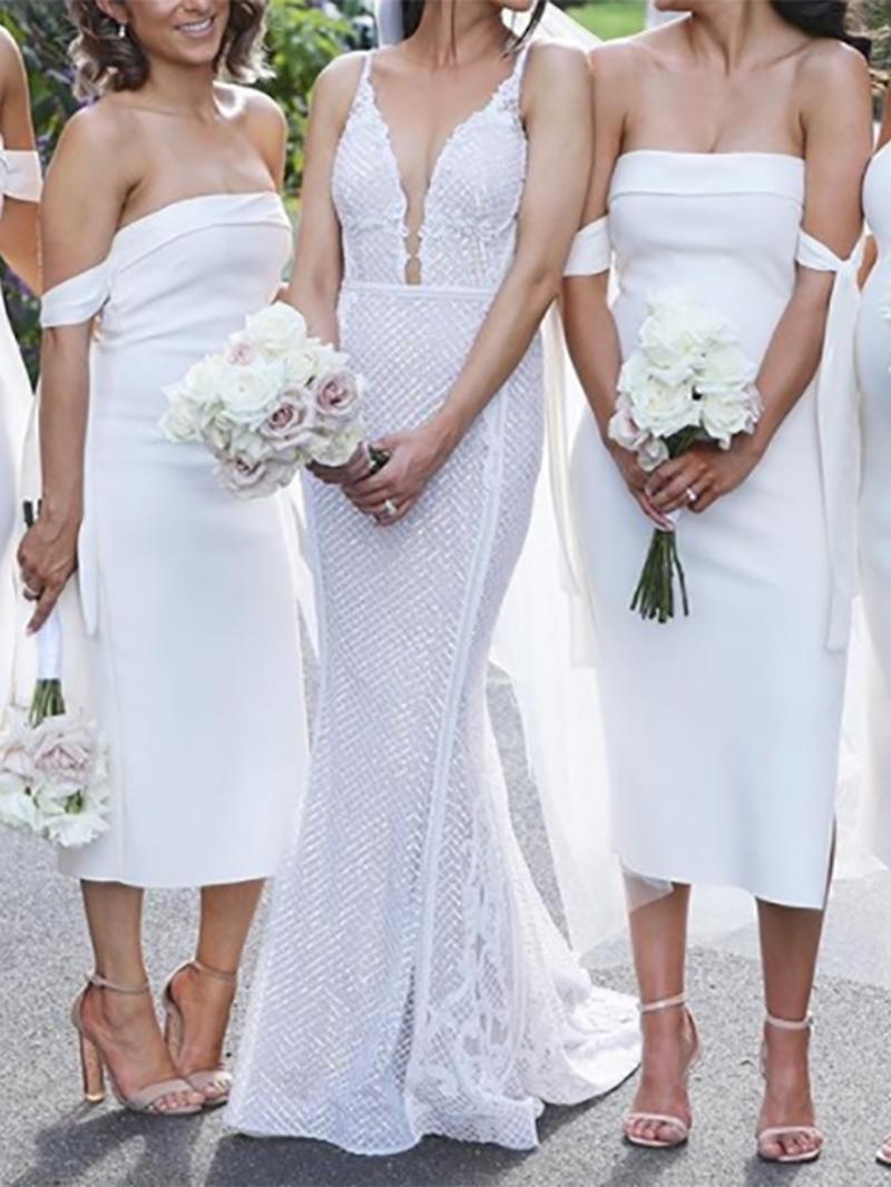 Ericdress Column Strapless Tea-Length White Bridesmaid Dress