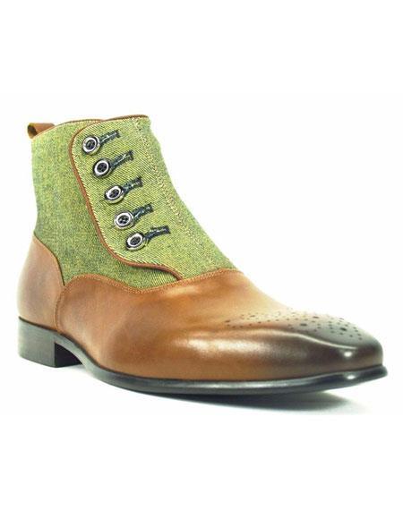 Men's Button Up Cognac Fashionable Denim/Leather Half Boot