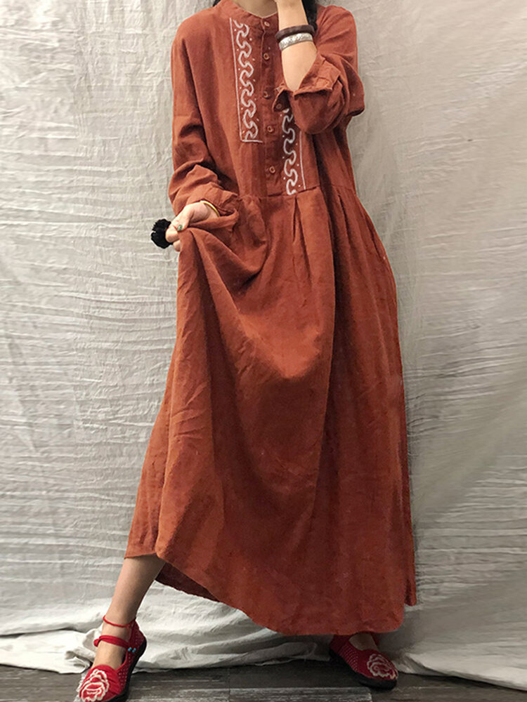 Embroidery Front Button Stand Collar Long Sleeve Pleated Dress