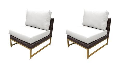 TKC049b-AS-DB-GLD-WHITE Barcelona Armless Chair 2 Per Box - Beige and Sail White