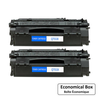 Compatible HP 53X Q7553X cartouche de toner noire haute capacité - boîte économique - 2/paquet