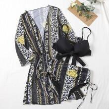 3 Packe Bikini Badeanzug mit Leopard & Kette Muster