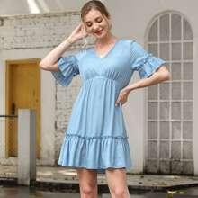 Flounce Sleeve Ruffle Hem Solid Dress