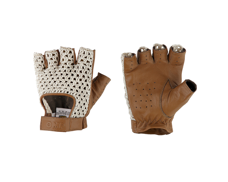 OMP Racing IB/747/M/S Cream and Brown Tazio Racing Gloves | S